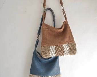 Woven Leather Shoulder or Crossbody Purse. Chevron design. Denim Blue or Caramel Pebbled Leather  - Made to Order
