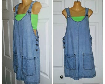 Wild Heart  .. vintage 90s jeans overalls romper / denim jumpsuit shorts / boxy one 1 piece pc / 1990s grunge ... M L
