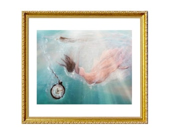 Sinking Empire - Print on Archival Matte Paper, By Alycia D'Avino, Ballerina Art, Mermaid Painting, Underwater Art, Wall Decor, Ballet Shoe