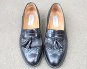 Vintage Mens 9m Mezlan Alicante Black Leather Slip On Loafers Tassel Kiltie Woven Braided Oxfords Wedding Suit Dress Shoes Classic Wingtips