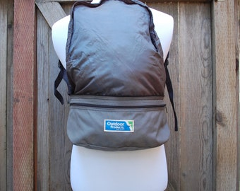 Vintage Outdoor Products USA Grey Nylon Vegan Two in One Backpack Fannypack Zip Up Hiking Hiker Rugged Outdoor Trekking Peak Moto Camping