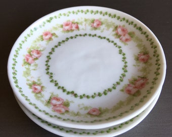 Antique Butter Pats GDA France CH Field Haviland Limoges Pink & Green Floral ~ #A2820