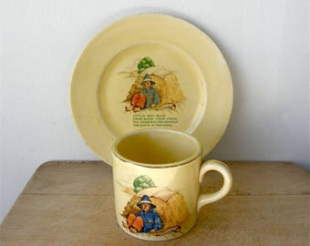 CHILD'S CUP & PLATE Little Boy Blue Nursery Rhyme Mother Goose Rhymes Knowles China Children's Multi-Colored Vintage Set American 1940's