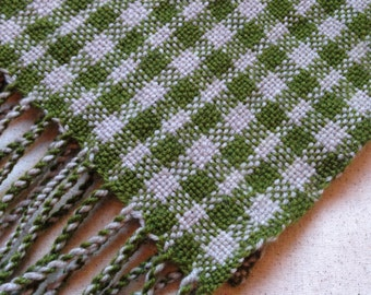 Checkered Handwoven Wool Scarf - Spring Green