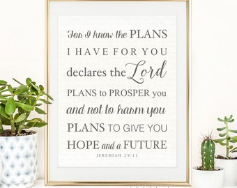 "16x20 - ""For I Know the Plans I have for You..."" Wall Art - JPEG Digital File - Instant Download - You Print- You Frame"