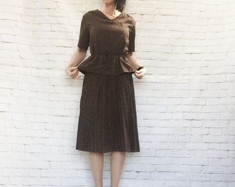 Vintage 70s Swiss Polka Dot Peplum Midi Dress Brown Belted Pleated XL