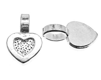 Bails : 25 pieces Silver Heart Bails | Glue-On Flat Pad Jewelry Bails ... 15x9mm -- Lead, Nickel & Cadmium free 62127.H6H