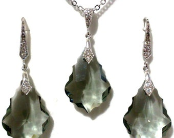 Gray Bridal Jewelry Set, Art Deco Earrings, Gatsby Necklace, Swarovski Dangle Earrings, Crystal Necklace, Bridesmaid Jewelry Gift, DIVA
