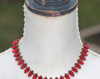 SALE NEW Siam Ruby Red Rhinestone Necklace,Large Marquise Navette,Red Vintage Rhinestone Jewel,Tennis Necklace,Choker,Antique Brass,Gift For