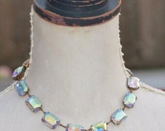 SALE NEW Large Crystal AB Rhinestone Jewel Tennis Necklace,Large Octagon Anna Wintour Style,Statement,Crystal Choker,Statement,Bridal,Weddin