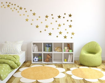 "Gold Star vinyl wall decal sticker wall decor, 2"" and 4"" wall stars,  gold confetti stars, Nursery Wall Art, childs room star wall decals"