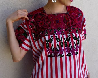 "Chiapas hand embroidered huipil/blusa red striped cross-stitch floral El Bosque resort boho Frida Kahlo Mexico 30""w x 21"" long - med/large"