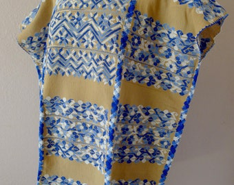 "Collectors Mexican huipil tunic dress handwoven Beige blue Amuzgos Oaxaca floral patterns boho resort Frida Kahlo 28""W x 34"" L"