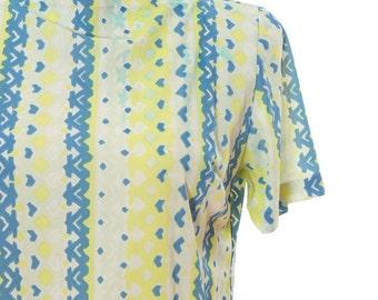 Medium Large 1960s Vintage Yellow Blue Dress 4CC