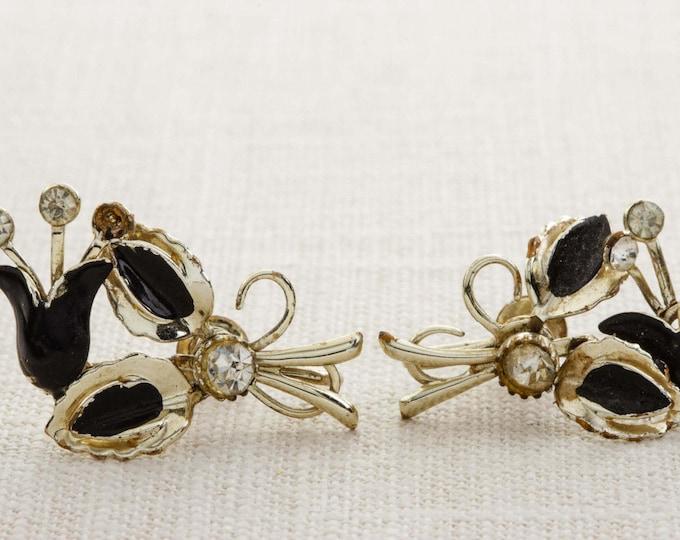 Vintage Rhinestone Earrings Clip On Black Enamel Gold Flower Leaves Bouquet Ear Climbers Clipons | Vtg 7B