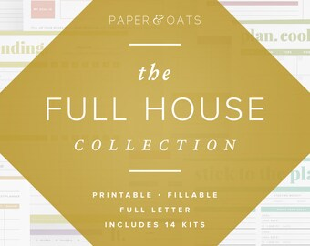The Full House Collection of 14 Editable Printable Sets of Household Planners, Organizers, Calendars, Home Management Binder, PDF Printables