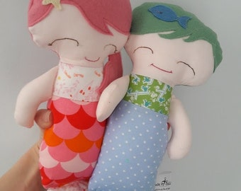 Handmade Mermaid Dolls. Twin Gift, fabric soft toys, CE marked plush, baby shower, toddlers birthday, mermaid plush ready to ship