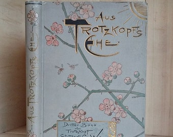 Antique Book in German Aus Trotzkopfs Ehe (From Trotsky's Marriage) Decorative Binding Art Nouveau 1890s Cherry Blossoms Old Books