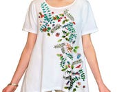 Asymmetric Tunic Handpainted with Jungle Critters for plus sizes