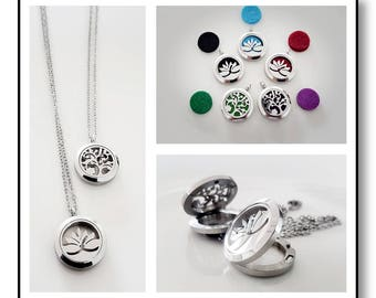 Aromatherapy Perfume Locket Set - Stainless Steel Locket with coloured felt & matching chain