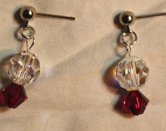 Clear and Ruby Swarovski Crystal Drop Earrings