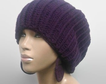 MADE TO ORDER Deep Violet/ Plum Purple Knit Look Crochet Slouch hat/deadlock hat with free matching crochet earrings/Elastic Edge