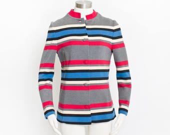 Vintage 1960s Jacket - Italian Wool Knit Striped Mod Cardigan 60s - Small S