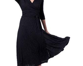 Party black dress wrap black dress Maxi black dress long black dress evening women black dress cotton black dress