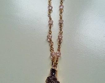 Wire wrapped purple druzy necklace, dainty druzy necklace, purple druzy pendant