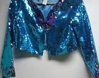 Sale Vintage  Blue Sequined Jacket