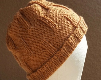 Slouch Hat, Tam, Beanie, Beret, Stocking Cap Gold, Golden, Yellow stocking cap that's a slouch hat! Hand knit from 100% Superwash wool.