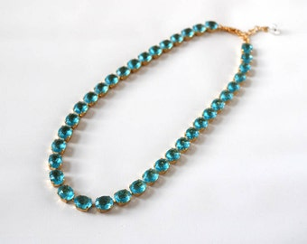 Blue Topaz Riviere Necklace, Georgian Paste Collet Necklace, Aqua Blue Crystal Jewelry, Aquamarine Wedding Necklace Tennis Necklace Crystal