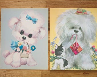 Vintage 1970 Colonial Studios 3D Dog Puppy Prints