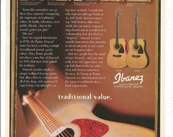 1995 Advertisement Ibanez Guitars Traditional Values Acoustic Unplugged Artwood Components Musician Studio Store Music Wall Art Decor
