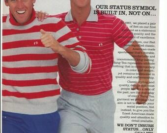 1983 Advertisement Hang Ten Sportswear Clothing 80s Fashion Men Feet Red Gray Status Symbol Wall Art Decor