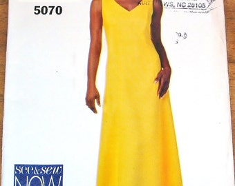 Butterick See & Sew 5070 Fitted Flared Maxi Sundress Dress Womens Misses Easy Sewing Pattern Size 12 14 16 Bust 34 36 38 Uncut Factory Folds