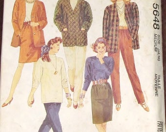 Vintage Easy Sewing Pattern McCall's 5648 Unlined Jacket Top Skirt Pants Womens Misses Coordinates Size 14 16 Bust 36 38 Uncut Factory Folds