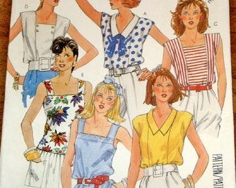 Vintage 1980s Easy Sewing Pattern McCall's 2429, Seamed Tuck-in Sleeveless Tops, Women's Misses Size 10-12 Bust 32-34 Uncut Factory Folds