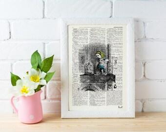 Summer Sale Alice in wonderland Alice in Wonderland  Alice through the mirror  Print on Vintage  Book art ALW008