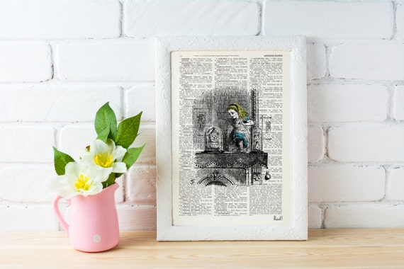 Spring Sale Alice in wonderland Alice in Wonderland  Alice through the mirror  Print on Vintage  Book art BPAW08