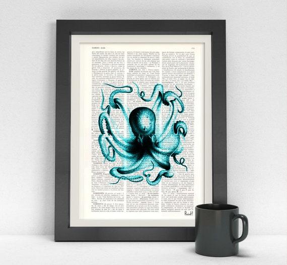 Art Print Turquoise Octopus I Dictionary art - Book Turquoise Octopus Print, Seaside wall art, Turquoise sea art SEA057