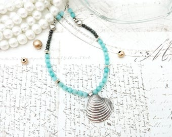 Seashell Necklace - PMC Jewerly, PMC Pendant, Seashell Pendant, Beach Necklace, Summer Necklace