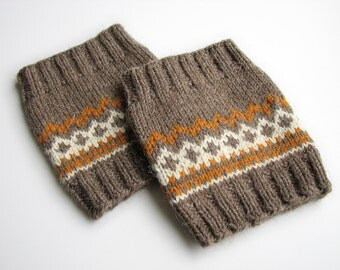 Size M - Hand Knitted Fair Isle Boot Cuffs - Boot Toppers, Leg Warmers - 100% Natural Wool