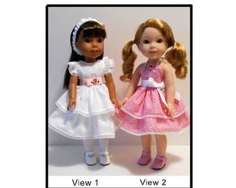 "Summer dresses PDF pattern fits 14 1/2"" dolls like Wellie Wishers"