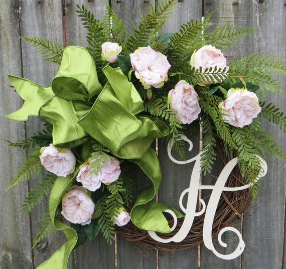 Spring Wreath, Rose Garden Wreath for Spring and Summer, Pale Pink Wreath, Green Bow Wreath, Spring Monogram Wreath, Rose Garden Wreath