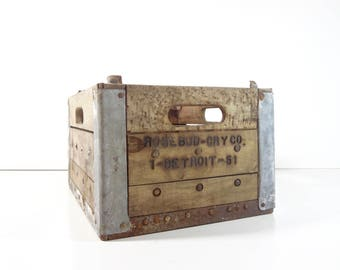 Vintage Dairy Crate / Metal and Wood Rosebud Creamery Milk Bottle Crate / Rustic Storage
