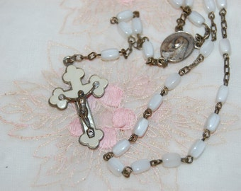 Mother of Pearl 1st Communion Catholic Rosary Beads with Crucifix Vintage 1950's Rosary Mother of Pearl Beads