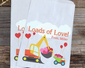 Valentines Day Construction Personalized Goodie Cookie Paper Bags for Backhoe Boys Party Favors, or Giveaways