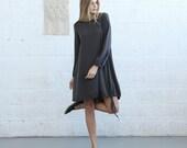 Mix Rib Midi Dress,Dark Grey.