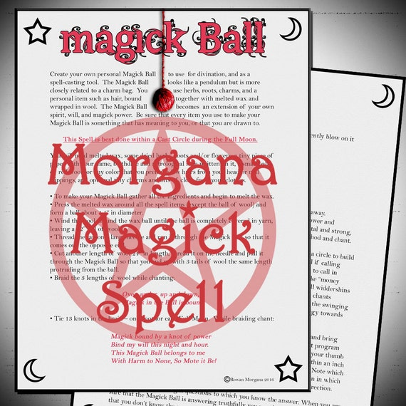 MAGICK BALL , Digital Download, Book of Shadows Grimoire, Scrapbook,  Wicca, Pagan, Witchcraft, White Magick, Magick Spell